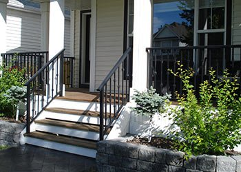 White And Brown Wood Stails With Bar Railings | Mountain View Sun Decks