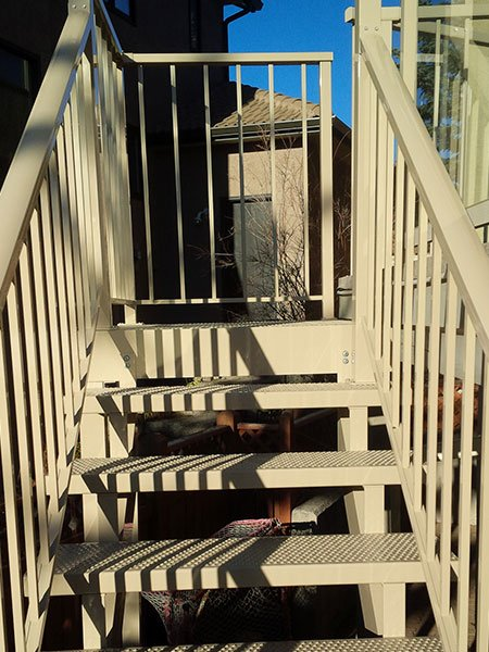 Metal Beige Stairs | Mountain View Sun Decks