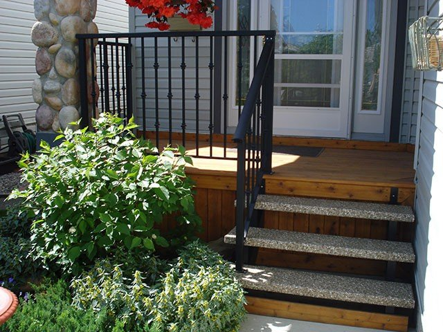 Black Railing System Stone Stairs | Mountain View Sun Decks