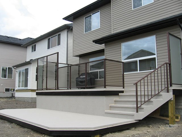 Deck Vinyl With Wind Wall Brown Privacy Wall | Mountain View Sun Decks