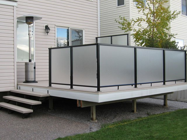 Railing Systems Black Vinyl Grey Deck | Mountain View Sun Decks