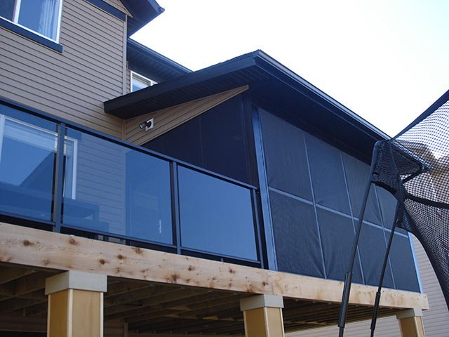 Sun Rooms Black Glass Railing System | Mountain View Sun Decks