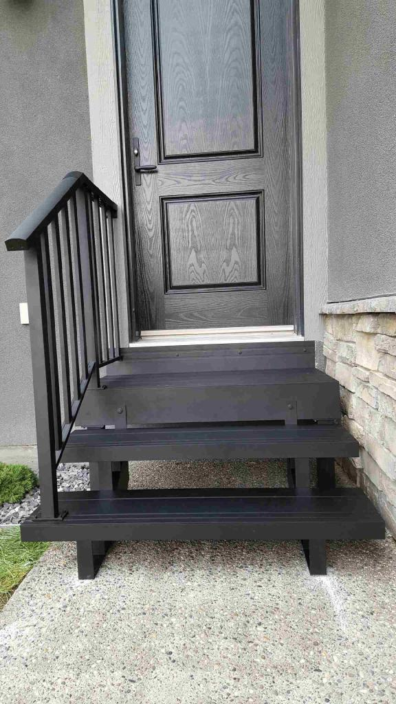 Small Wood Stairs With Bar Railing | Mountain View Sun Decks