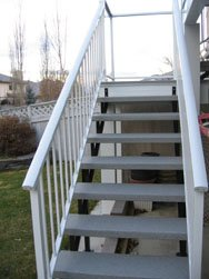 Aluminum White Picket Railing With Vinyl Wrapped Stairs | Mountain View Sun Decks