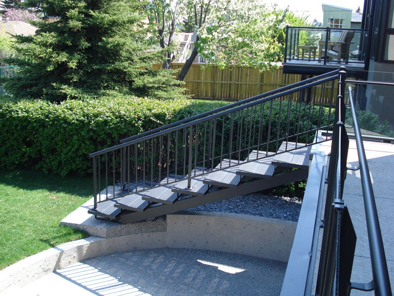 Large Metal Stairs With Black Picket Railing | Mountain View Sun Decks