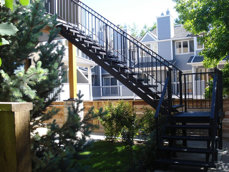 Black Metal Stairs With Black Picket Railing | Mountain View Sun Decks