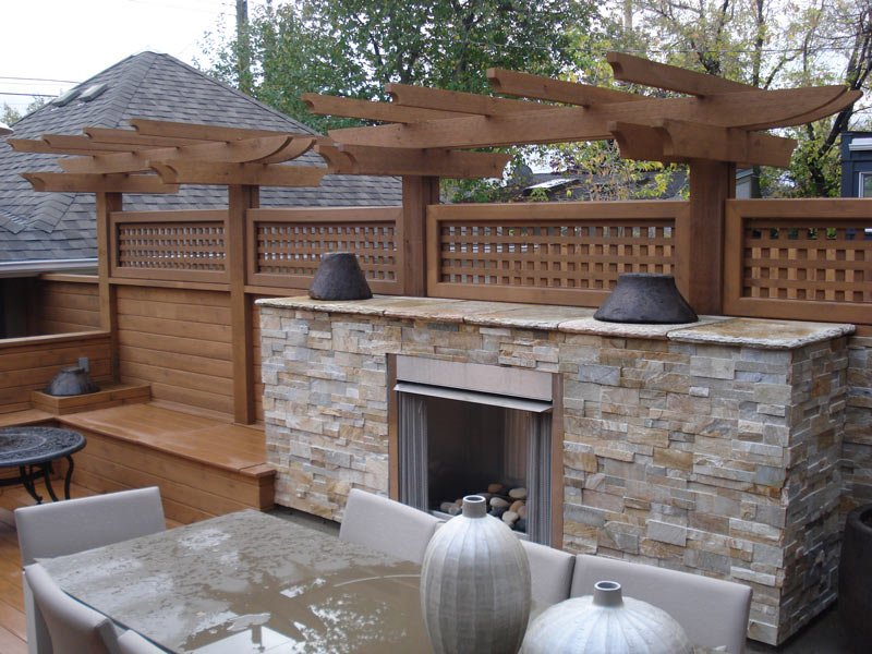 Wood Sun Deck With Fire Place | Mountain View Sun Decks