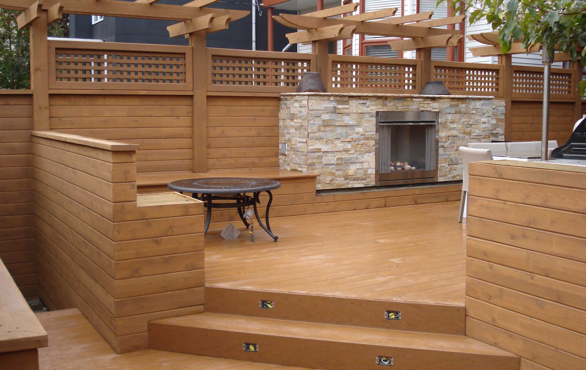 Wooden Sun Deck Fire Plave | Mountain View Sun Decks