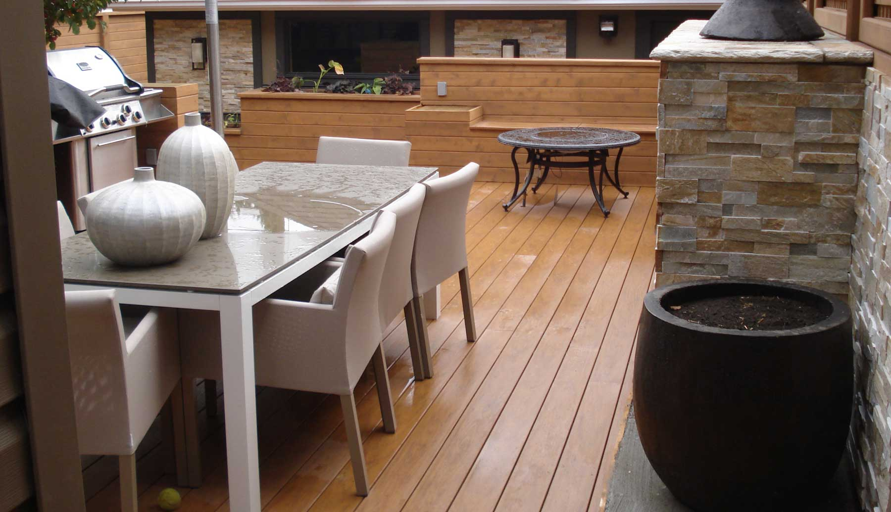 Wooden Sun Deck After Rain | Mountain View Sun Decks