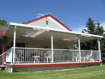 Exterior Porch Sun Deck With Aluminum Roof And Railings | Mountain View Sun Decks