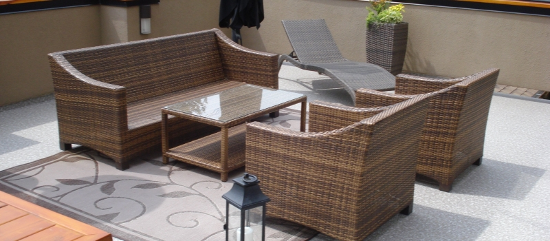 Large Grey And White Furnished Sun Deck | Mountain View Sun Decks